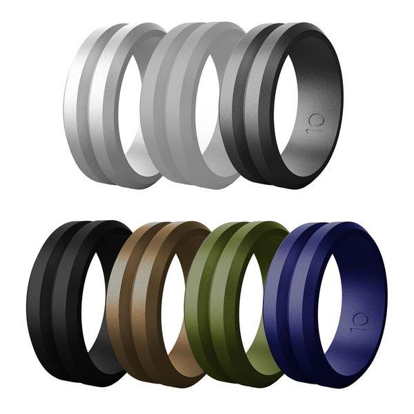Силиконовое Обручальное кольцо для мужчин Элегантных Доступных 8мм Силикона Engagment Обручальных колец скошенных края 7pcs / набора