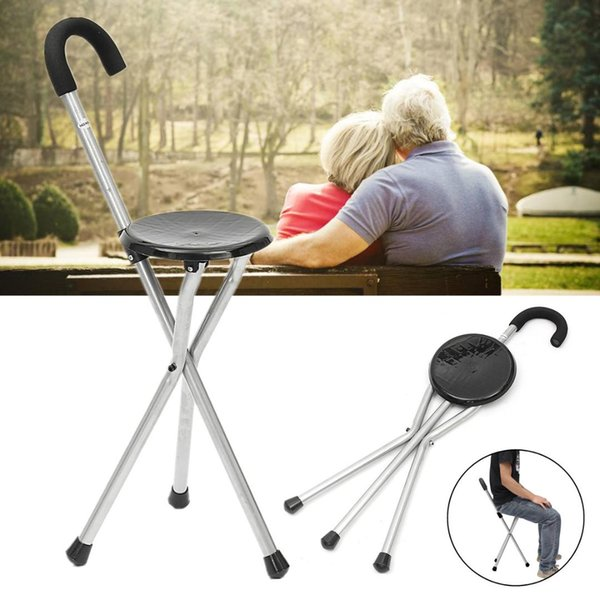 Phenomenal Foldable Portable Tripod Cane Walking Stick Seat Camp Stool Chair For Old People 87X30Cm For Elder Outdoor Hiking Iron Plastic Hiking Sticks Uk Hiking Uwap Interior Chair Design Uwaporg