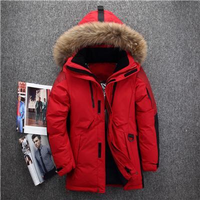 Giacca invernale da uomo Russia di alta qualità resistente al freddo -40 gradi collo invernale in pelliccia di alta qualità con collo in piuma d'oca bianca calda