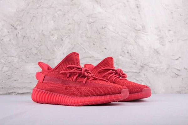 (With Box)Free Shipping 2019 Kanye Red Sneaker Men Women West All Red Sneaker