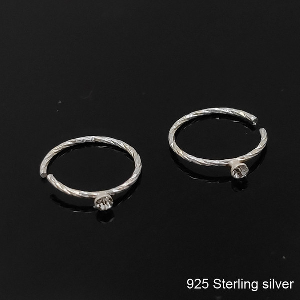 2019 925 Sterling Silver Nose Ring With Crystal Swirl Twist Tragus