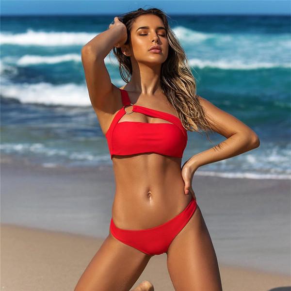 eaaf47cbe Sexy Un Hombro Bikini 2019 Traje de baño Leopardo Traje de baño rojo Las  mujeres empuja hacia arriba Bikinis Set Ropa de playa brasileña Nadar para  traje de ...
