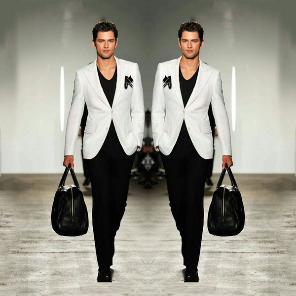 White and Black Wedding Suits for Men Blazer Prom Party Man Jacket Wide Peaked Lapel Costume Homme Terno Masculino 2Piece Groomsmen Wear