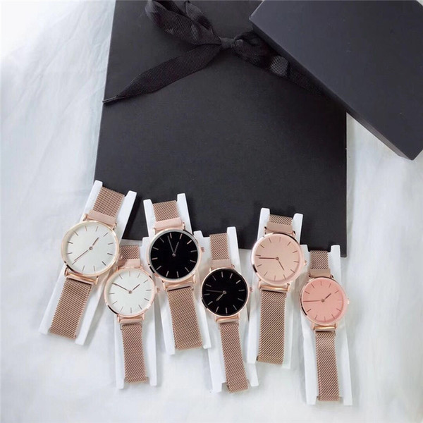 New Fashion Couple 40mm/32mm Girls Steel Strip D V V Watches Mens Watches Quartz Luxury Watch Clock Relogio For Women and Men