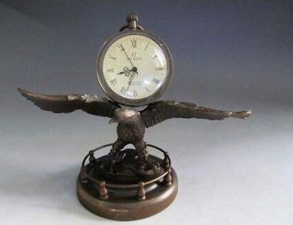 Art Bronze Decoration Crafts Brass Chinese collect Bronze Copper Eagle sculpture mechanical clock watch Statue
