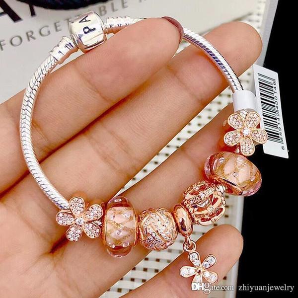Pandoras Luxus Glanz ALE Rose vergoldet klare CZ Charm Armbänder 925 Sterling Silber Schmuck mit Originalverpackung