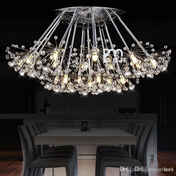 K9 Pendentif En Cristal Lumière 1 6 12 13 15 17 19 19 leds tête Creative Pissenlit LED Lustres En Cristal droplight Moderne Minimaliste Room Lights