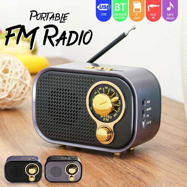 Аккумуляторная FM-радио AUX Bluetooth-динамик Портативный беспроводной динамик Звуковая система FM USB TF MP3-плеер