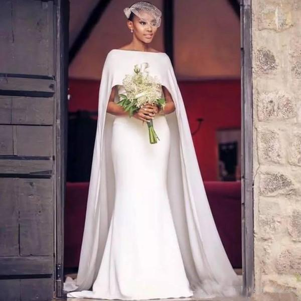 Простые свадебные платья в стиле кантри-русалка с длинным рукавом Bateau Neck с коротким рукавом Вечерние платья для невесты Vestidos De Novia Cheap