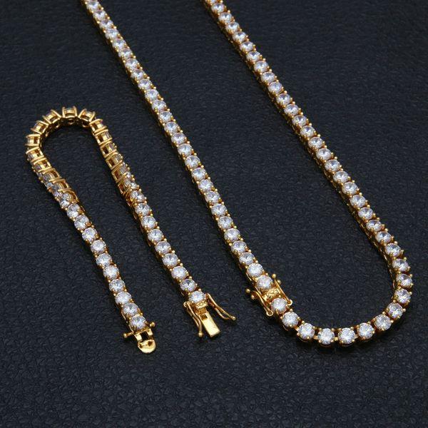 5mm Single Row Zircon Necklace 24inch Necklace 8inch Bracelet Suit Baseball Chain Set Men Women Jewelry