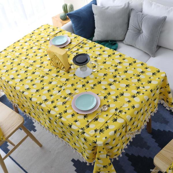 İskandinav Pamuk Ve Keten Masa Örtüsü Sözleşmeli Sanat Sarı Ananas Masa Örtüsü Dikdörtgen Çay Masa Örtüsü Kare Yastık Kılıfı
