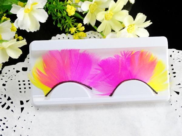 2019 Factory supply cheap exaggerated stage eyelashes for bridal single party colorful art feather false eyelashes