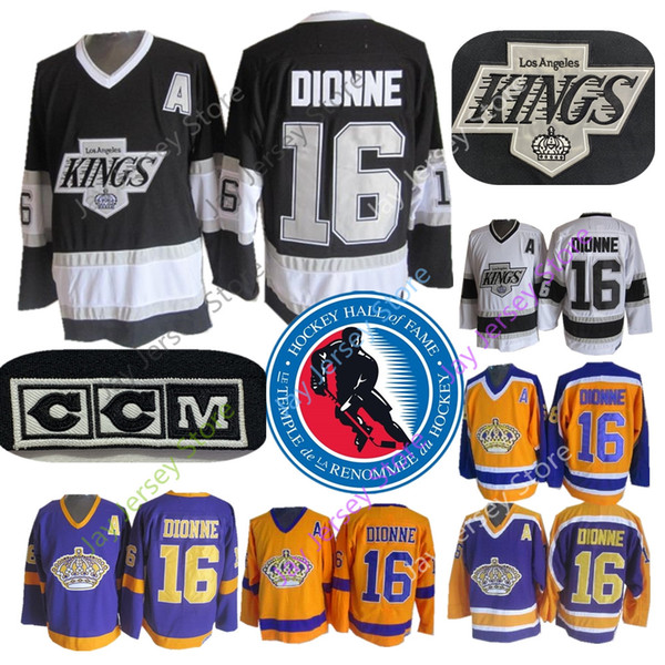 16 Marcel Dionne Jersey con 1992 Hockey su ghiaccio Hall of Fame Patch Los Angeles Kings CCM Old Time Jersey Oro giallo Viola Nero Bianco