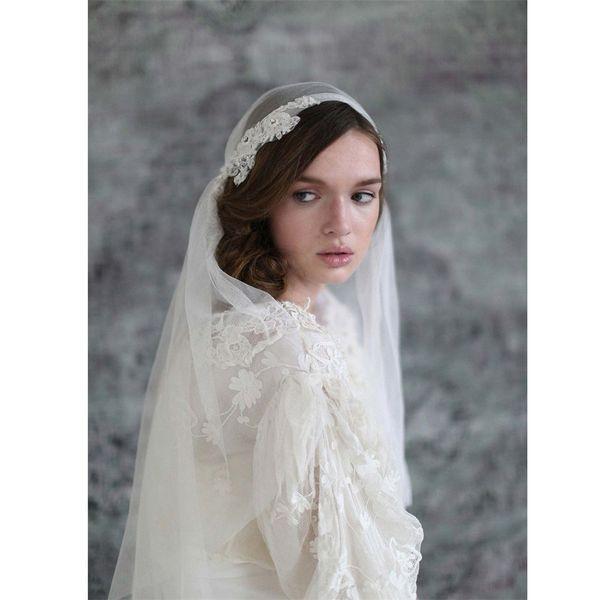 Juliet cap Wedding Veils Bridal Veils 2 Layers Vintage Appliques Ivory White Veil for Bride velos de novia 2019 Voiles