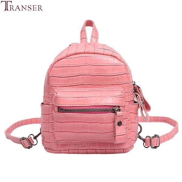 Transer Small Backpack Women Retro Pu Leather Student Bag Fashion Design Waterproof Travel Backpacks Girls 2019 New Mini Backbag