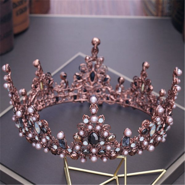 Vintage Princess Crystal Baroque Queen Crown Wedding Prom Pearl Hair Accessories for Women and Girls