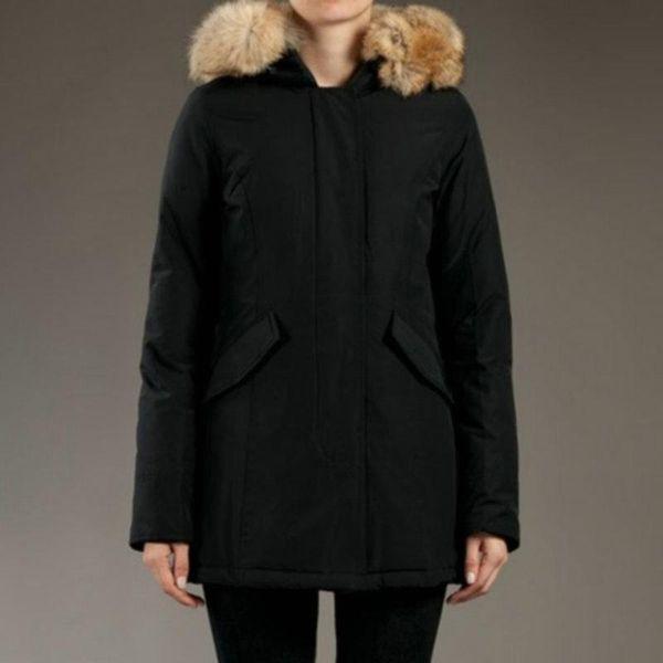 Giacca invernale donna Artie Parka Cappotto donna nero Giacca collo in pelliccia di procione Cappotto invernale russo caldo spesso