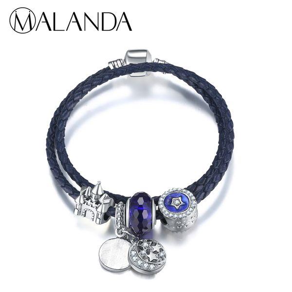 MALANDA Brand Fashion Crystal Ball Beans Double Circle Rope Chain Charm Bracelets Bangles Women Wedding Jewelry Christmas Gift