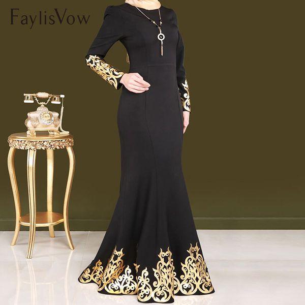 Style Femmes musulmanes Robe Gold Stamping Impression Manches Longues Dubai Abaya Robes Caftan Noir Robe Islamique Musulman Vêtements