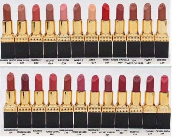 best selling Factory Direct DHL Free Shipping New Makeup Lips Hot Brand Lipstick Rouge Lip Colour Matte Lipstick!!24 Different Colors