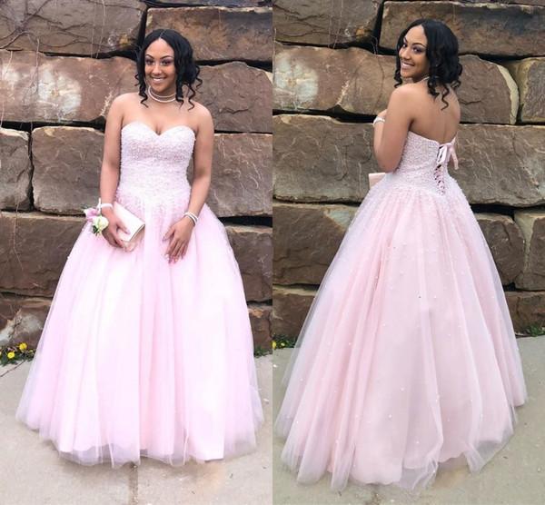 2019 Tulle Quinceanera rosa abiti Lace Up Sexy Back Sweetheart in rilievo di lusso Sweet 16 abiti da ballo di promenade