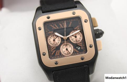 Top New Men 100 XL Watch Automatic Mechanical Watch Black Leather Gold Case Roma number Men's Sports WristWatches