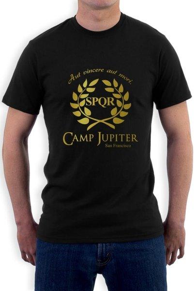 Moda CAMP MEIA-SANGUE Ramos Camiseta Homens homens CAMP JUPITER SPQR Roxo Ficção Científica Percy Jackson O Pescoço Curto