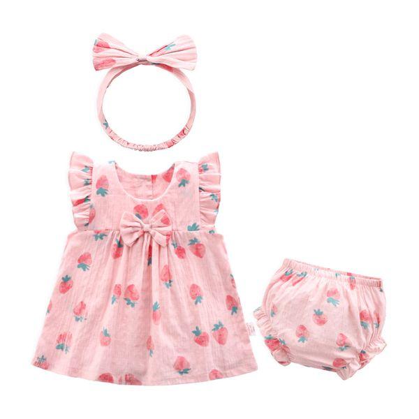 2019 explosion models new summer new baby baby cotton dress girls super-yang princess dress Korean three-piece