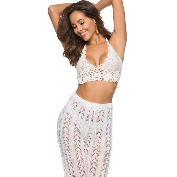 Women Crop Top Beading Backless V Neck Casual Crocheted Hanging Halter Sleeveless Solid Bikini Wear Waist Corset Bodycon Summer