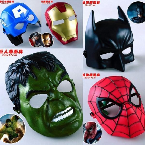 5pcs/lot Marvel Movie Masks Avengers Hulk Captain America Batman Spiderman Ironman Party Mask Boy Gift Action Figures Toys #e C19041501