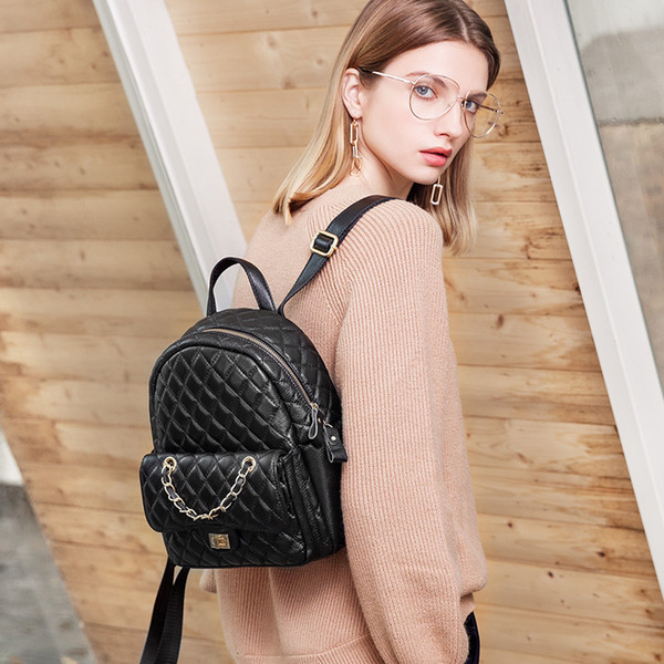 Fashion Brand Designer Women Backpack Genuine Leather Bag 2019 New Fresh Style