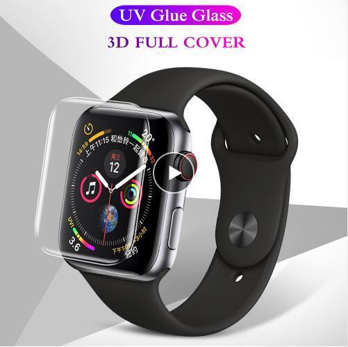 Verre trempé avec colle UV liquide incurvé pour corps entier 3D pour Apple Watch Series 1 2 3 4 Protecteur d'écran pour iwatch 38 40 42 44 mm