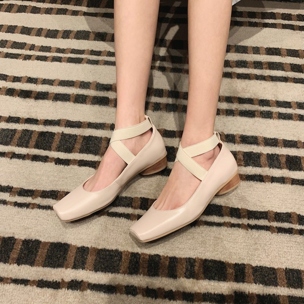 Hot2019 Square Women's Shallow Mouth Bandage Low Help Shoe Sheepskin Small Leather Shoes Coarse With French Single