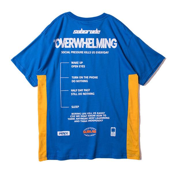 Drôle Aesthetic Coton Imprimé T-shirt pour les Hommes Urbains Garçons Streetwear Hiphop Graphique Color Block T-shirt À Manches Courtes Tee Oversized S-XXL