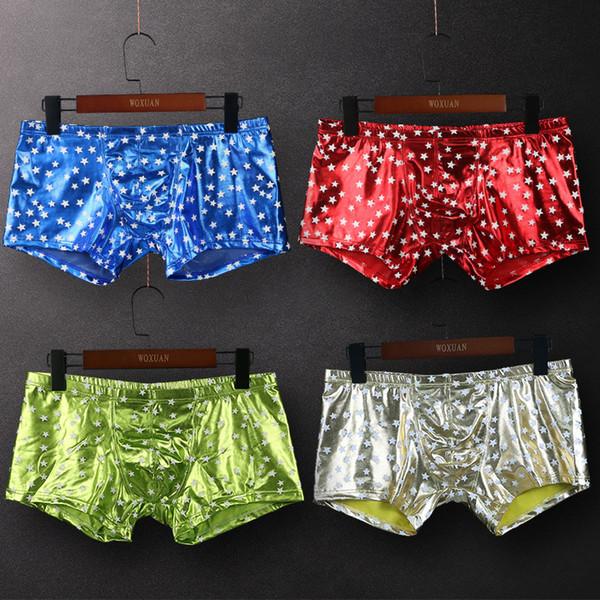 New Men Stars Printed Underwear Men Sexy Faux Leather Fashion Boxers Shorts Panties Male Tight Boy Satin Shiny Boxershorts