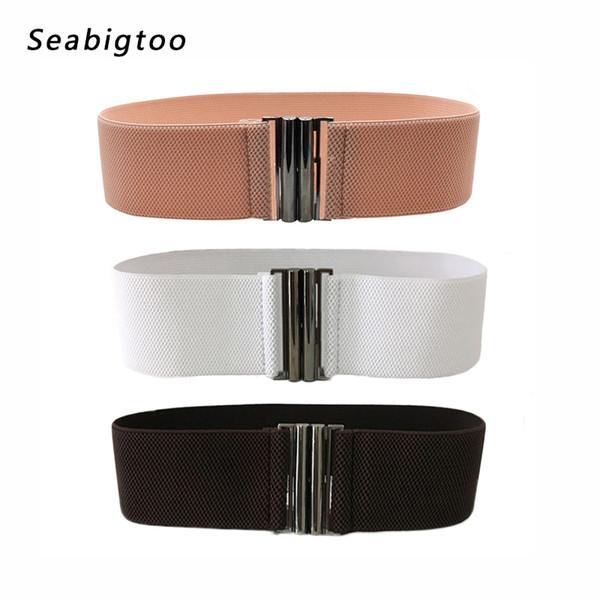 Elastic wide belts metal buckle belts for woman Cummerbund luxury designer brand Apparel Accessories Waistband for dresses 2018