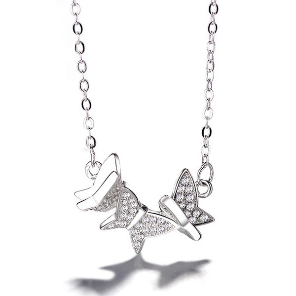 S925 silver butterfly necklace Korean silver ornaments temperament small female necklace collarbone chain wholesale
