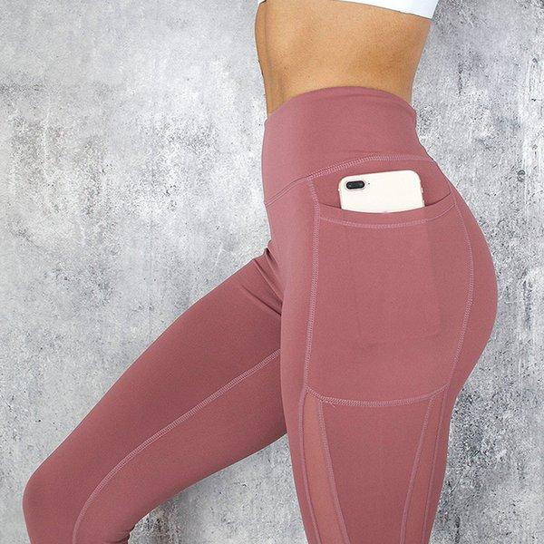 Карманные твердые спортивные штаны для йоги Высокая Талия сетка спортивные леггинсы фитнес женщины йога леггинсы обучение бег брюки спортивная одежда#g4