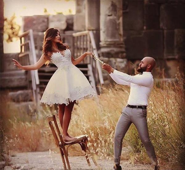 Discount Short Wedding Dress Knee Length Informal Wedding Bridal Gowns Lace Vintage Brazil Bride Reception Dresses Vestido De Novia Cmhp0081 Online