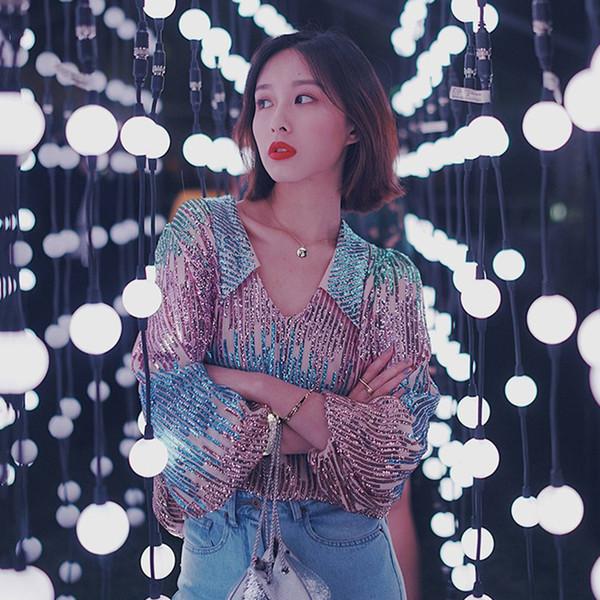 Vintage Gömlek Bluz Kadınlar Uzun Kollu Hit Renkler Ağır Sequins Patchwork Kore Moda 2019 Bahar Yeni Tops
