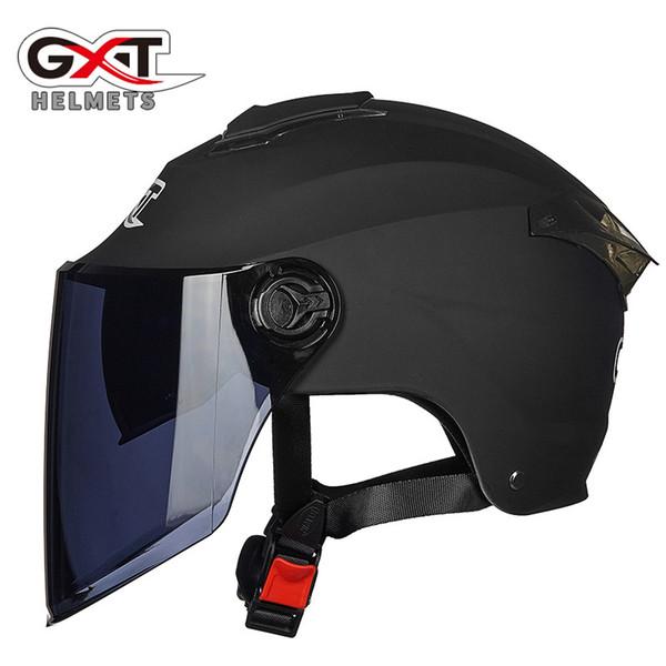 gxt half face motorcycle helmet women/men summer double lens sunscreen electric motorbike helmet safety