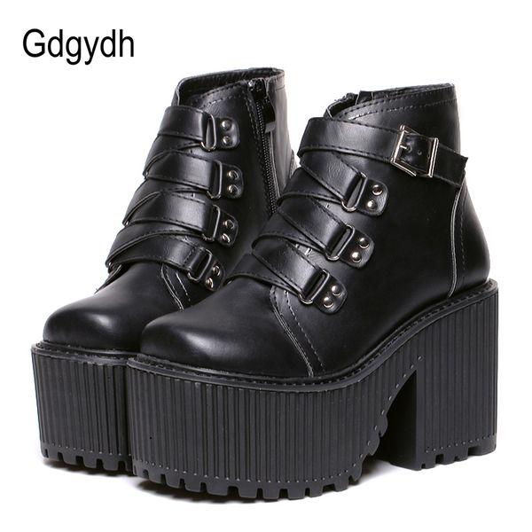 Gdgydh Deri Yuvarlak Ayak Yüksek Topuk Çizmeler Kadın Ayakkabı Toka Kauçuk Taban Siyah Platformu Ayakkabı Sonbahar Ayak Bileği Çizmeler Punk Serin
