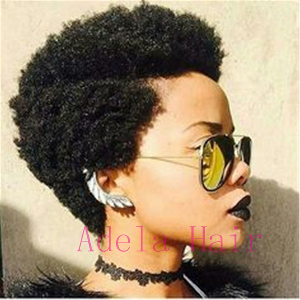 Short Black African Kinky Curly Afro Wig