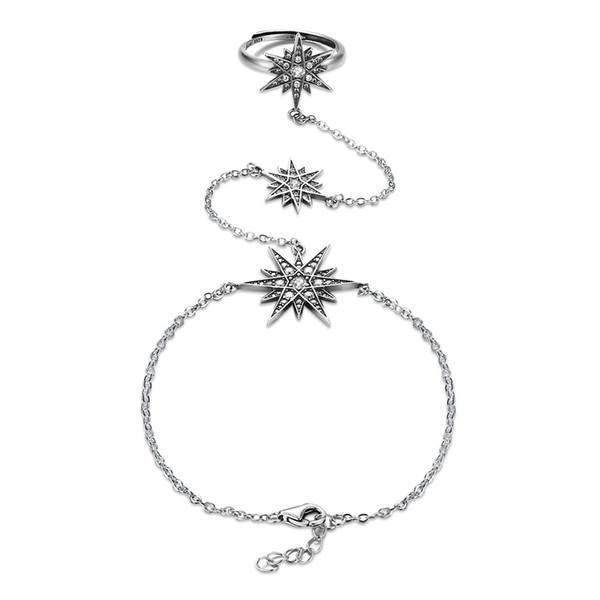 Творческий стерлингового серебра 925 кольца браслеты изысканные ювелирные наборы женщин ретро звезды CZ Циркон горный хрусталь палец кольца талии цепи