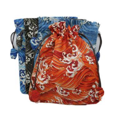 High End Drawstring Large Handmade Fabric Bag Jewelry Gift Packaging Bags Linen Cloth Prayer beads Bracelet Storage Pouch