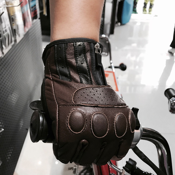 2017 Hot sale biker leather gloves men's leather motorcycle gloves half finger for Retro brown black color M L XL XXL