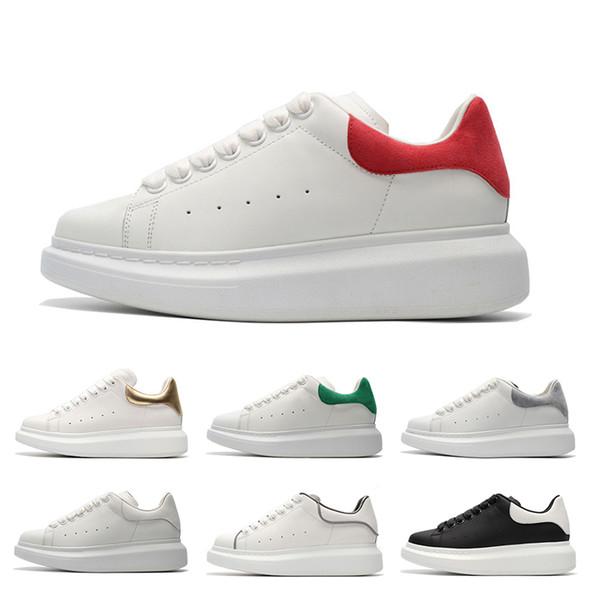 alexander mcqueen Yeni 2019 Asil Erkek Kadın daha renk Deri ayakkabı tasarımcısı geri kırmızı bahar yeni stil moda serin Yansıtıcı tuval boyutu 36-45