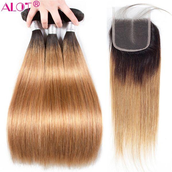 Beaucoup Ombre Straight Bundles Avec Fermeture Brésilien Cheveux Humains Deux Tons Ombre Sombres Racines Miel Blonde Brun Vin Rouge Tissage Cheveux Extensions