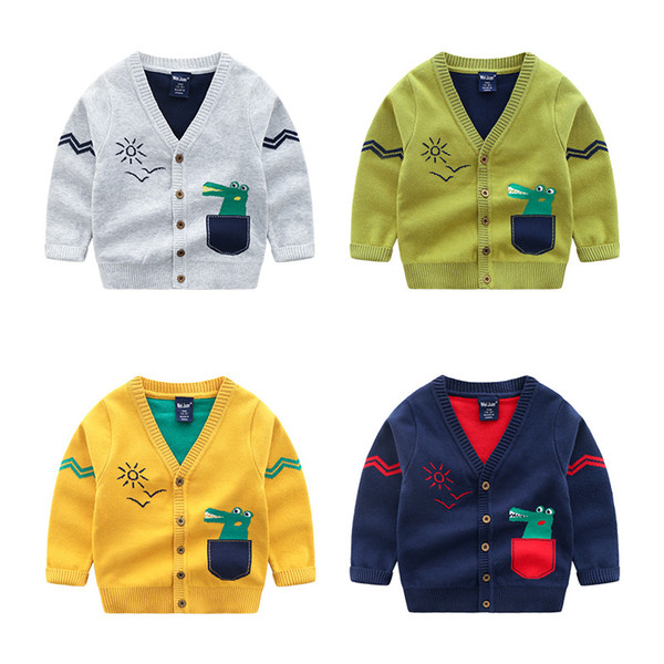 Cute Cartoon Dinosaur Baby Cardigan Kids Boys Knitted Jacket for Spring Children Sweater Warm Out Wear Clothing