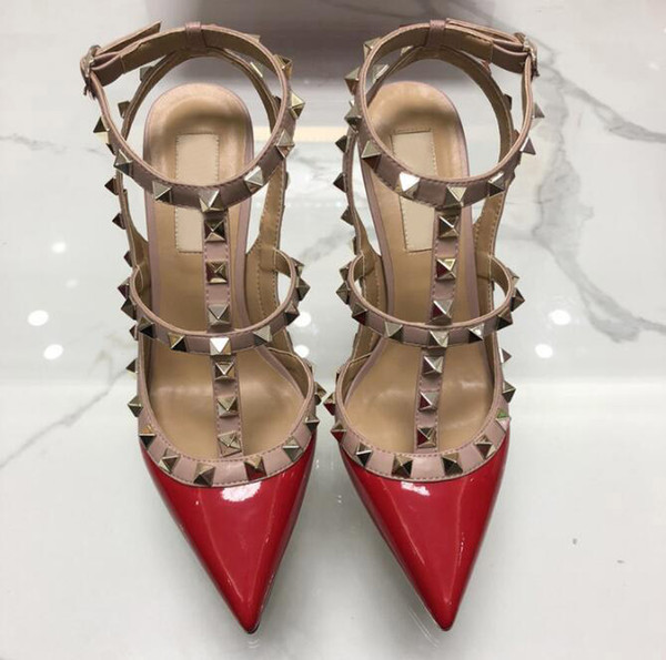 best selling 2019 Designer Pointed with Studs high heels 8CM 10CM Patent Leather rivets Sandals Women Studded Strappy Dress Party Office Wedding Shoes